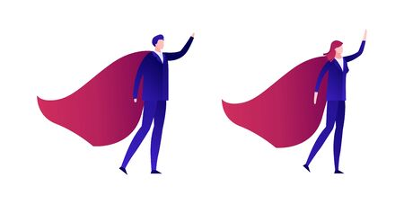 Vector modern flat businessman super hero illustration. Male and female in blue suit and red cape in strong leadership pose isolated on white. Design element for card, report, infographics, banner.