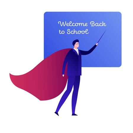 Vector modern flat hero character illustraction. Male teacher in business suit and red cloak with black board isolated on white. Design element for welcome back to school banner, poster, invitation. Standard-Bild - 133406710