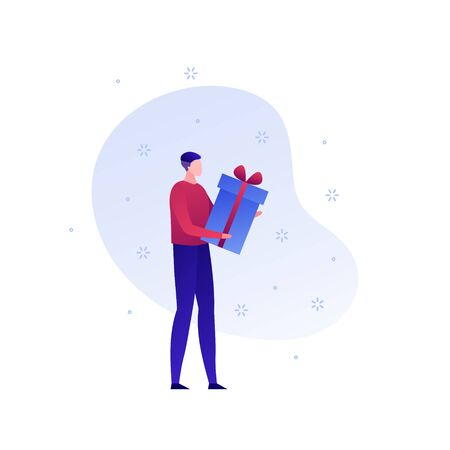 Vector flat gift box holiday people illustration. Man holding giftbox with ribbon isolated on white background with snow. Concept courier delivery. Design element for banner, poster, web, infographics