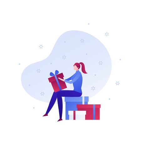 Vector flat gift box holiday people illustration. Woman sitting on pack of giftboxes unwrap present isolated on white background with snow. Design element for banner, poster, web, infographics.