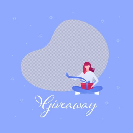 Vector flat gift box giveaway holiday people illustration. Woman sitting unwrap giftbox with copyspace for photo. Design element for banner, poster, web, social media post, advertisment, competition.