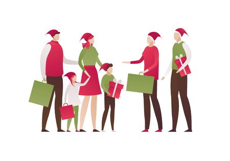 Vector flat family celebration illustration. Group of people with holiday gift and present bags and boxes isolated on white background. Concept of big family. Design elements for banner, poster, web. Ilustrace