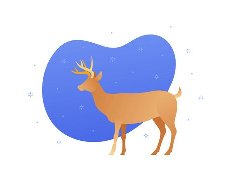Vector flat christmas celebration animal illustration. Brown reindeer on blue fluid copyspace and snow sign isolated on white background. Holiday concept. Design element for banner, poster, web
