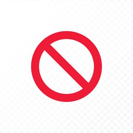 Vector flat stop sign icon illustration. Red crossed out symbol of restrict isolated on white and transparent background. Design element for logo, web, ui, banner, poster.