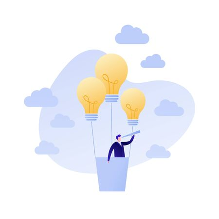 Vector flat business people illustration. Idea concept. Businessman in flying lightbulb balloon with spyglass isolated on white background. Design element for banner, poster, web, infographic.