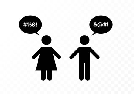 Vector black bad speech language people icon i0llustration. Man and woman couple with censored talk bubble chat isolated on transparent background. Design element for hate banner, poster, web. Çizim