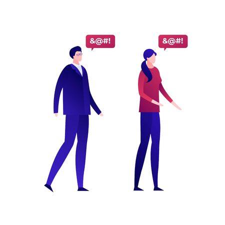 Vector flat bad speech language people illustration. Male and female couple with censored text dialog isolated on transparent background. Design element for hate banner, poster, web, meme. Illustration