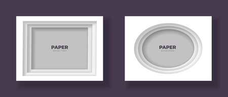 Vector cut out paper frame template set. Ellipse and rectangle frame with easy to recolor and move shadows. Shades of grey color. Design element for banner, poster, web, print.