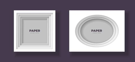 Vector cut out paper frame template set. Ellipse and square frame with easy to recolor and move shadows. Shades of grey color. Design element for banner, poster, web, print.