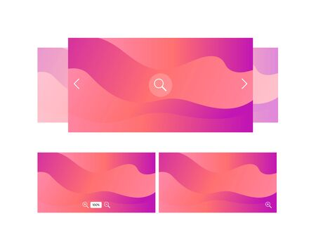 Vector ui background slider template. Modern fluid colorful red to pink gradient shapes isolated on white background. Design element for phone site, backdrop, interface.