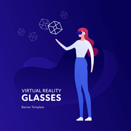 Vector virtual reality person banner template. Female in vr glasses holding abstract shape on fluid blue background. Concept of innovation in entertainment. Design element for poster, flyer, website