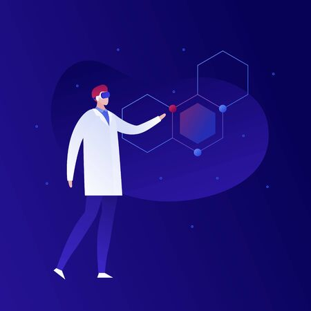 Vector science virtual reality person illustration. Male in coat and vr glasses with dna helix. Concept of innovation in research technology, chemistry, biology. Design element for poster, flyer, web
