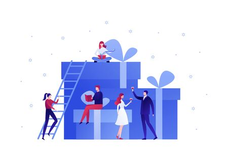 Vector flat gift box holiday people illustration. Business team celebrate sitting on huge gift boxes isolated on white background with snowflakes. Design element for banner, poster, web, infographics.