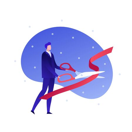 Vector flat business people illustration. Businessman with big scissors cut red ribbon isolated on white background. Concept or grand opening. Design element for banner, poster, web, infographic