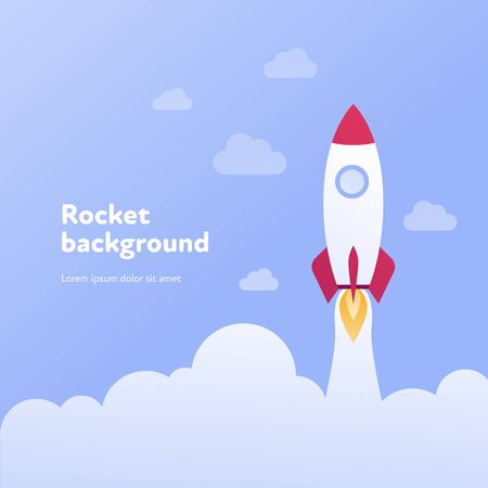 Vector flat rocket banner template illustration. White and red fly spaceship in blue cloud sky background. Science and technology concept. Design element for poster, web, infographics, presentation.