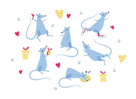 Vector cute flat mouse character illustration set. Christmas and New Year concept. Group of rat with cheese gift box, hearts, and activities. Design element for banner, poster, card, invitation.