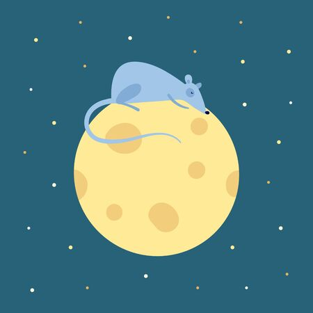 Vector cute flat mouse character illustration. China New Year symbol. Rat sleeping on cheese moon bed on night background with stars. Design element for banner, poster, card, invitation.