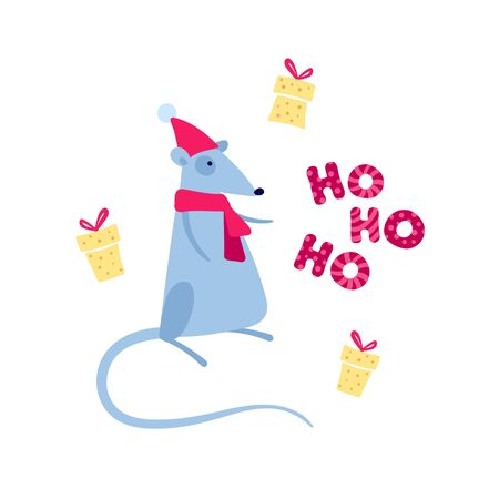 Vector cute flat mouse character illustration. Christmas symbol concept. Gray santa claus rat with cheese gift box and ho ho ho text. Design element for banner, poster, greeting card, invitation.