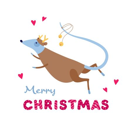 Vector cute flat mouse character illustration. Christmas symbol concept. Gray rat in reindeer outfit with hearts and merry christmas text. Design element for banner, poster, greeting card, invitation.