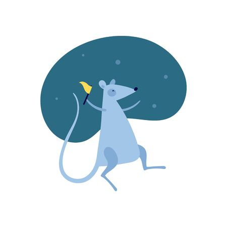 Vector cute flat mouse character illustration. Chinese new year celebration concept. Gray cartoon rat dance with flag on blue fluid background. Design element for banner, poster, card, invitation. Stock Vector - 134521974