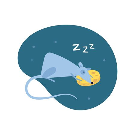 Vector cute flat mouse character illustration. China New Year symbol. Cartoon rat sleeping on cheese pillow with zzz on night fluid background. Design element for banner, poster, card, invitation.
