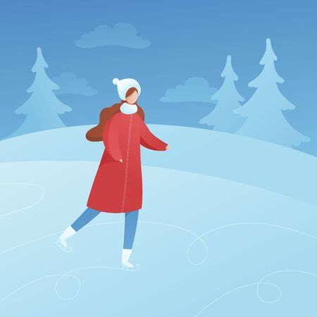 Vector flat winter holiday activity people illustration. Woman in red outfit ice skate on nature forest background. Christmas, new year celebration concept Design element for banner, poster, card, web
