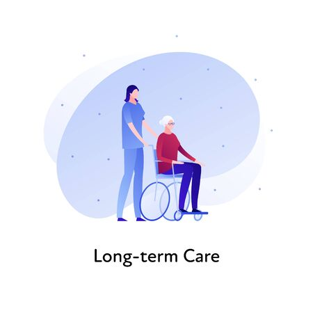 Vector flat insurance banner template illustration. Long-term care senior insurance concept. Nurse with female in wheelchair on white background. Business design element for poster, ui, web. Illusztráció