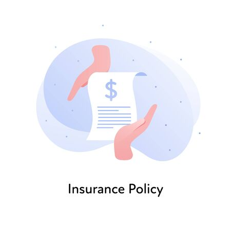 Vector flat insurance banner template illustration. Insurance policy concept. Hands holding document layout with dollar sign on white background. Business design element for poster, ui, web. Illusztráció