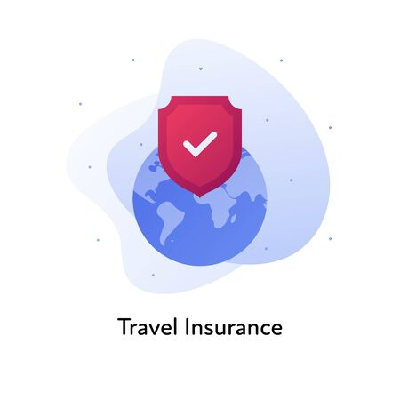 Vector flat insurance color illustration. Travel concept. Planet earth with red shield and checkbox on fluid background isolated on white. Design element for banner, poster, web, ui, print.