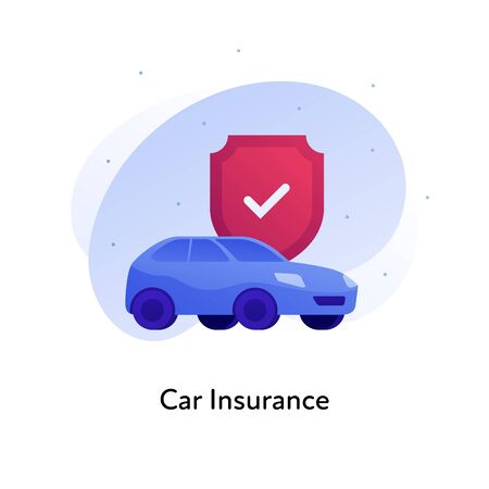 Vector flat insurance business color illustration. Car protection concept. Vehicle and shield with checkbox isolated on white background. Design element for banner, poster, web, ui, print