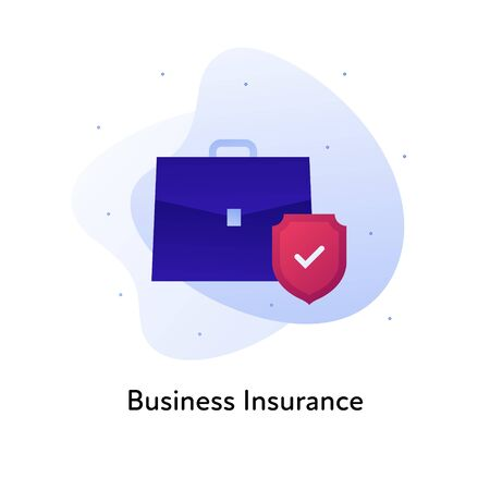 Vector flat insurance business color illustration. Bank, deal protection concept. Suitcase and shield with checkbox isolated on white background. Design element for banner, poster, web, ui, print