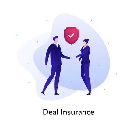 Vector flat insurance business color illustration. Bank, deal protection concept. Businesswoman and businessman handshake isolated on white background Design element for banner, poster, web, ui, print