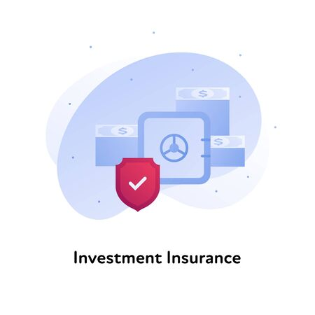 Vector flat insurance business color illustration. Bank, investment protection concept. Bank safe with money and shield isolated on white background. Design element for banner, poster, web, ui, print