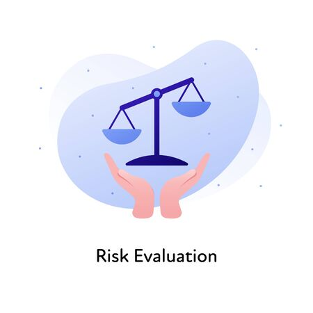 Vector flat risk evaluation business color illustration. Audit, financial and market analysis, concept. Hands holding scale balance isolated on white background. Design element for banner, poster, web Stock Illustratie