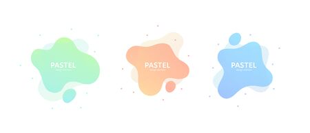 Fluid abstract banner template illustration. Set of modern pastel color gradient liquid shapes isolated on white background. Memphis concept. Design element for poster, backdrop, web, sale, print.