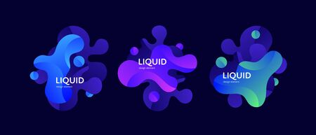 Fluid abstract banner template illustration. Set of modern wavy liquid shapes isolated on black background. Neon wave memphis concept. Design element for poster, backdrop, web, sale, print.