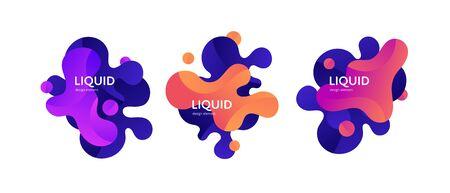 Fluid abstract banner template illustration. Set of modern bright color gradient liquid shapes isolated on white background. Wave art concept. Design element for poster, backdrop, web, sale, print.