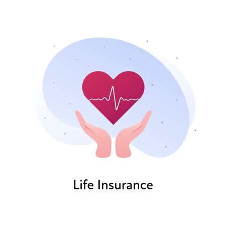 Vector flat insurance banner template illustration. Life and medical insurance concept. Hands holding heart icon with heartbeat on white background. Business design element for poster, ui, web.
