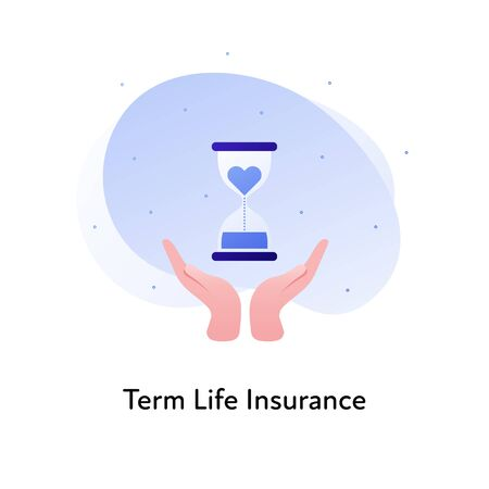 Vector flat insurance banner template illustration. Term life medical insurance concept. Hands holding sandglass with heart icon on white background. Business design element for poster, ui, web. Illusztráció