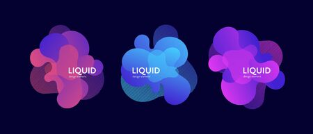 Fluid abstract banner template illustration. Set of modern bright gradient liquid shapes isolated on black background. Future concept. Design element for poster, backdrop, web, sale, print.