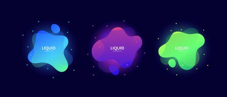 Fluid abstract banner template illustration. Set of modern bright liquid shapes isolated on black background. Neon acid color memphis concept. Design element for poster, backdrop, web, sale, print.