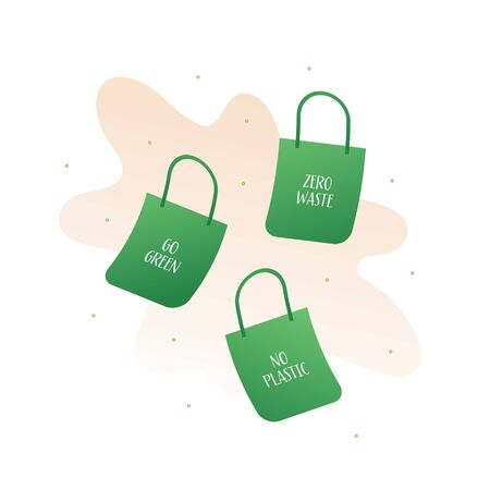 Zero waste ecology concept. Vector flat llustration. Green bags with no plastic and go green text isolated on white. Design element for banner, poster, ui, background, web.