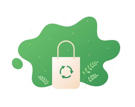 Zero waste ecology concept. Vector flat llustration. Beige bag with green cirlce recycle symbol on fluid shape with leafs isolated on white. Design element for banner, poster, ui, background, web. Illusztráció
