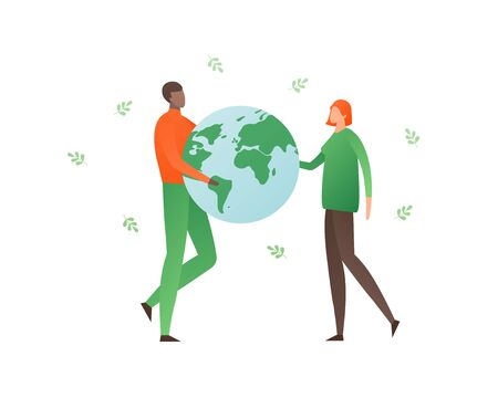 Ecology protection concept. Vector flat person illustration. Female and black male people holding planet earth and green leafs isolated on white. Design element for banner, poster, ui, background, web