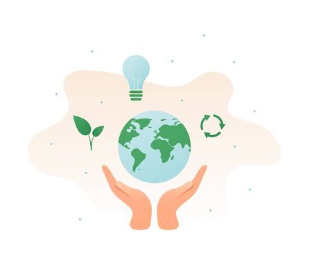 Ecology protection concept. Vector flat illustration. Hand holding planet earth sign with leaf, recycle symbol and lightbulb isolated on white. Design element for banner, poster, ui, background, web.