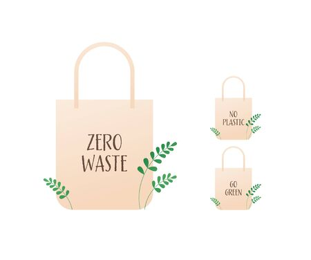 Zero waste ecology concept. Vector flat llustration. Beige bags with green leafs, no plastic and go green text isolated on white. Design element for banner, poster, ui, background, web. Illusztráció