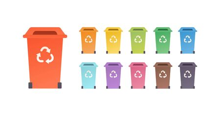 Sorting waste ecology concept. Vector flat llustration. Color trash can with triangle recycle icon isolated on white. Design element for banner, poster, background, web, infographic Illusztráció
