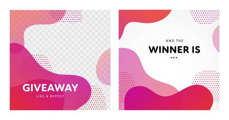 Vector fluid giveaway and winner banner template set. Group of couple square give away poster. Abstract pink color liquid illustration with text. Design for social media post, free gift, advertisment.