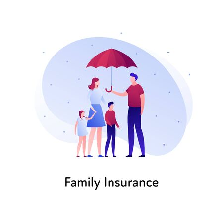 Vector flat insurance banner template illustration. Family person insurance concept. Parents with childs holding umbrella on white background. Business design element for poster, ui, web. Illusztráció