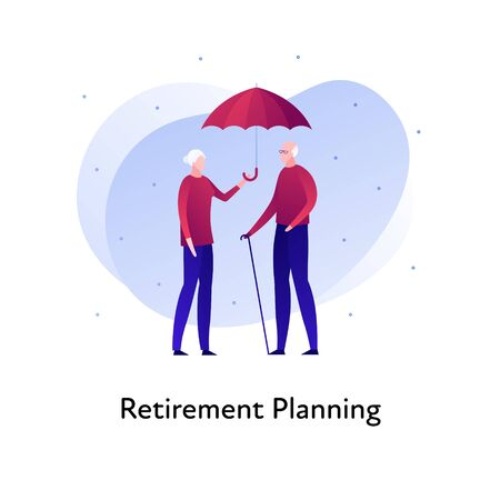 Vector flat insurance banner template illustration. Elder family person insurance concept.Senior male and female holding umbrella on white background. Business design element for poster, ui, web. Illusztráció
